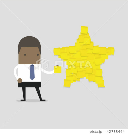 businessman with star shape yellow sticky notes のイラスト素材