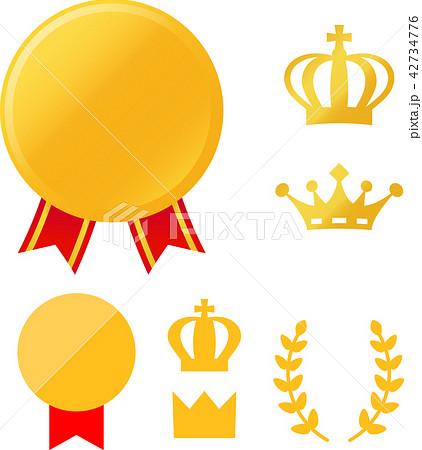 メダルと王冠のアイコンセット 42734776