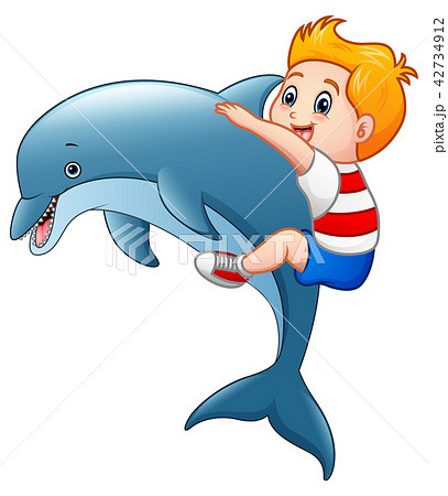 Little boy cartoon with dolphins 42734912