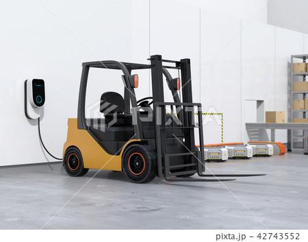 物流倉庫に充電中の電動フォークリフト車と搬送ロボットのイメージ 42743552