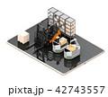 デジタルタブレットの上にある産業ロボット、AGV、フォークリフトのイメージ。工場自動化のコンセプト 42743557
