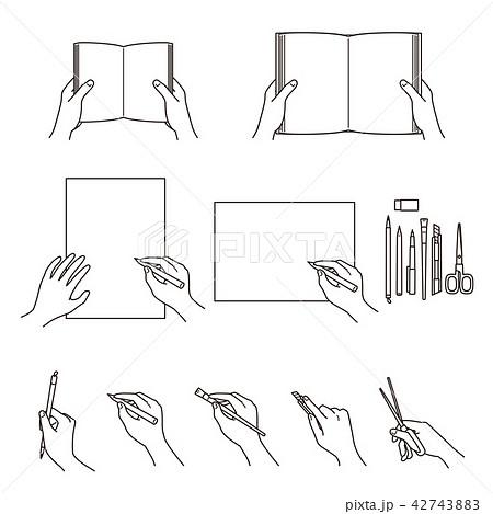 手のしぐさ 02 本 図画工作 42743883