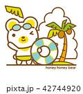 クマ 浮き輪 ヤシの木のイラスト 42744920