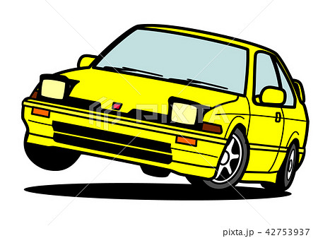 懐かしめ国産コンパクトクーペ 黄色 自動車イラスト 42753937