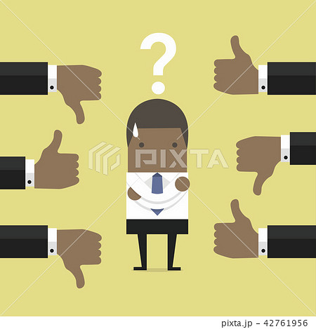 african businessman get feedback from other peopleのイラスト素材