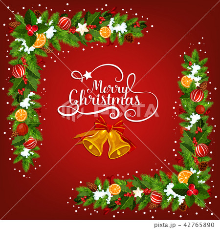 Christmas bell greeting card with garland corner 42765890