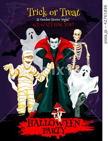 Halloween trick or treat poster of horror monster 42765896