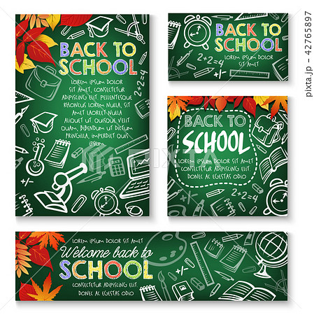 Back to School vector study chalkboard posters 42765897