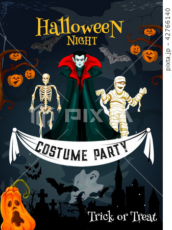 Halloween holiday costume party invitation banner 42766140