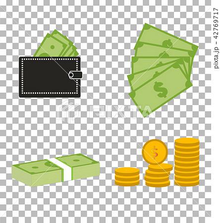 set moneydollars and coins on transparent. 42769717