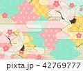 和柄 鶴 背景のイラスト 42769777