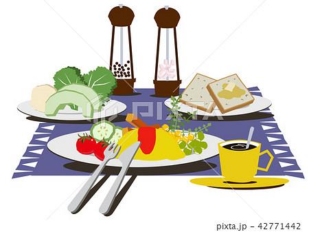 卵料理。オムレツのバランスのとれた朝食。 42771442