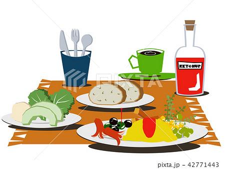卵料理。オムレツのバランスのとれた朝食。 42771443