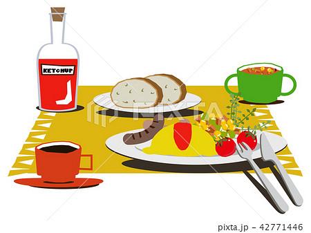 卵料理。オムレツのバランスのとれた朝食。 42771446