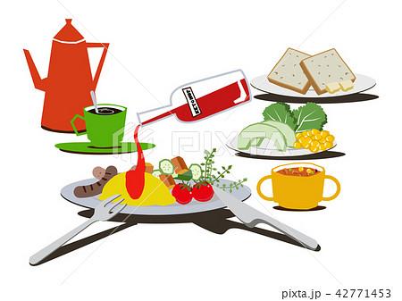 卵料理。オムレツのバランスのとれた朝食。 42771453