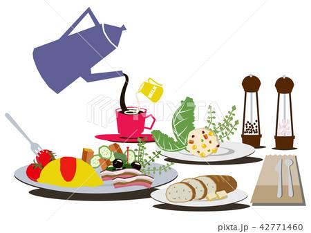 卵料理。オムレツのバランスのとれた朝食。 42771460