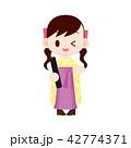 袴 女の子 卒業式のイラスト 42774371