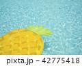プールとパイナップルの浮き輪 ボートフロート 42775418