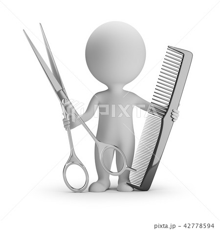 3d small people - hairdresser with scissors 42778594