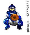 野球キャッチャー(構え) 42779674