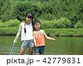 夏休み 子供 川遊びの写真 42779831