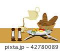 目玉焼きのイラスト。卵料理。朝食のイメージ。健康的な食事。 42780089