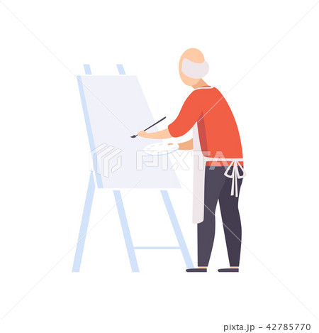 Senior man character painting on canvas, elderly people leading an active lifestyle social concept 42785770