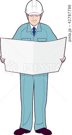新聞を読む工場長 42787786