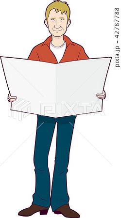 新聞を読む男性外国人 42787788