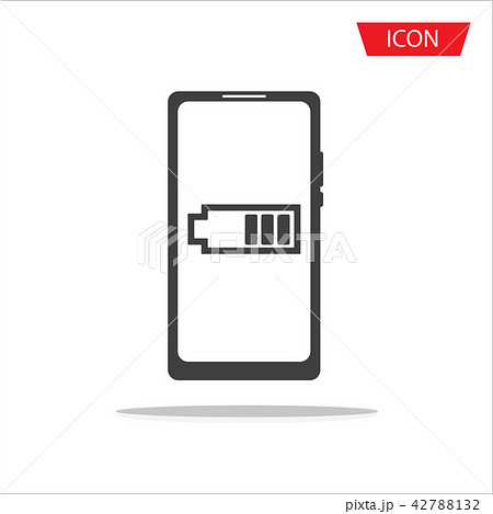 Smartphone with low battery icon vector isolated o 42788132