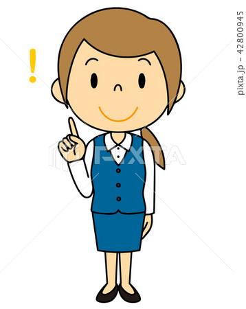 女性 OL 会社員 バリエーション ひらめく 人差し指をさす 42800945