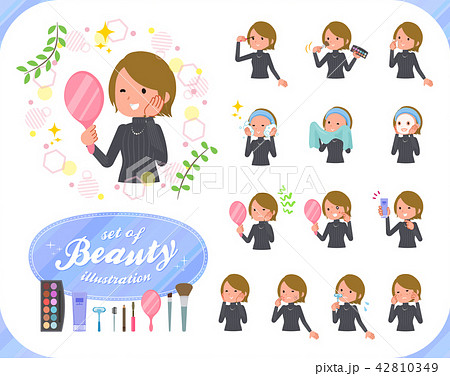 flat type Short hair women_beauty 42810349