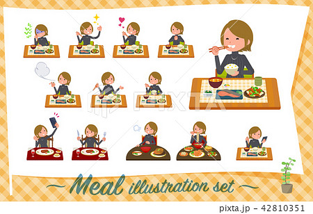 flat type Short hair women_Meal 42810351