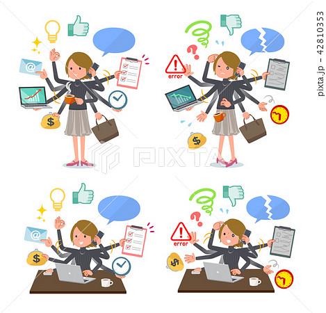 flat type Short hair women_mulch task 42810353