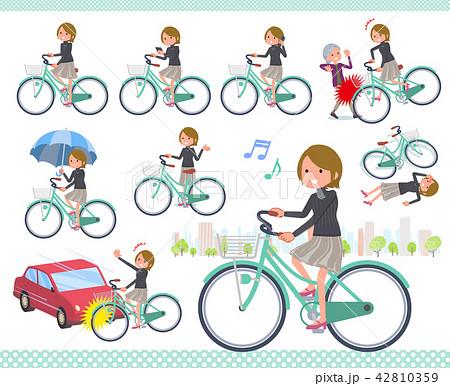 flat type Short hair women_city cycle 42810359