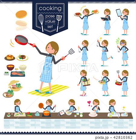 flat type Short hair women_cooking 42810362