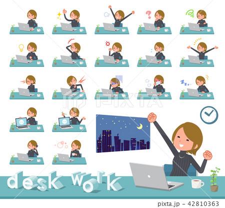 flat type Short hair women_desk work 42810363