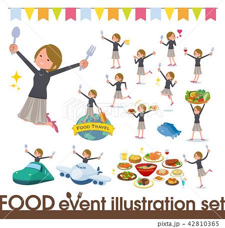 flat type Short hair women_food festival 42810365