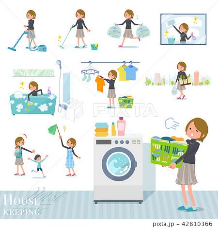 flat type Short hair women_housekeeping 42810366