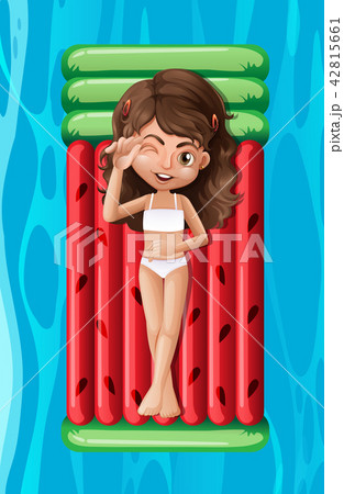 Young girl relaxing on a pool float 42815661