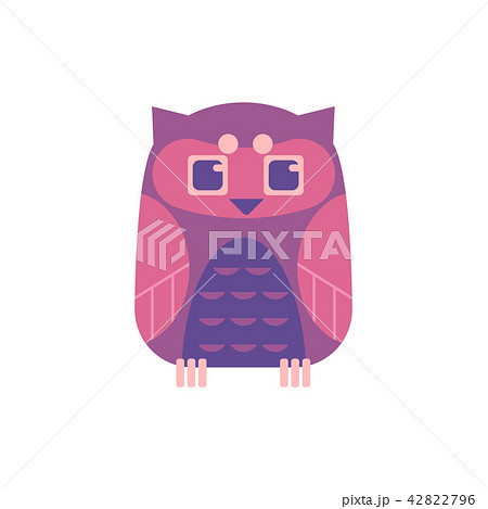 Cute sitting owl - wild predator bird with funny face and large eyes. 42822796