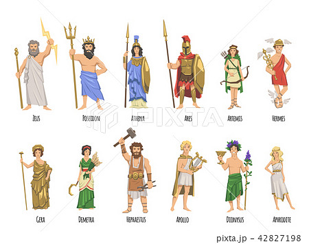 pantheon of ancient greek gods mythology set of characters with
