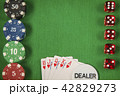 Gambling chips and poker card on green felt background 42829273