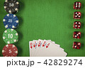 Gambling chips, red dices and poker card on green felt background 42829274