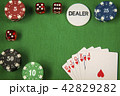 Gambling chips, red dice and card for poker on green felt background 42829282