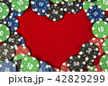Gambling chips for poker around the red felt background 42829299