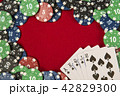 Gambling chips for poker around the red felt background 42829300
