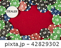 Gambling chips for poker around the red felt background 42829302