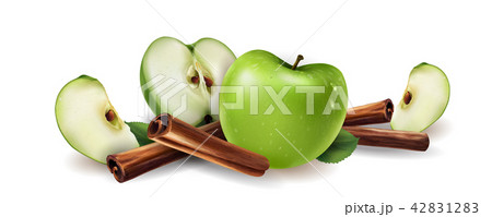 Cinnamon and green apples 42831283