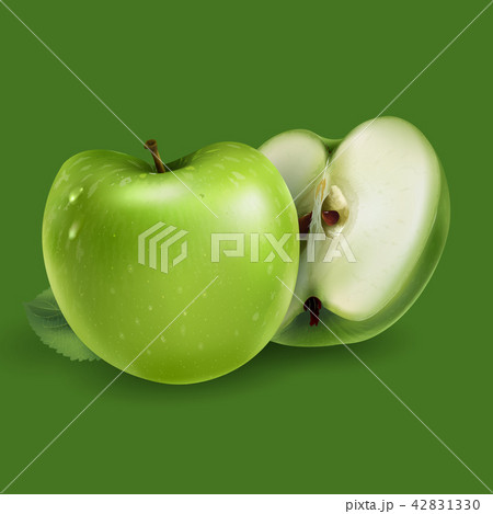 Green apples on a green background 42831330